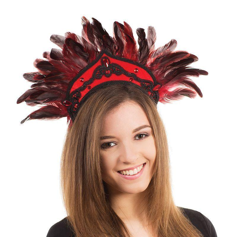 Womens Carnival Headdress. Black/Red Feathers (Costume Accessories) - Female - One Size Halloween Costume