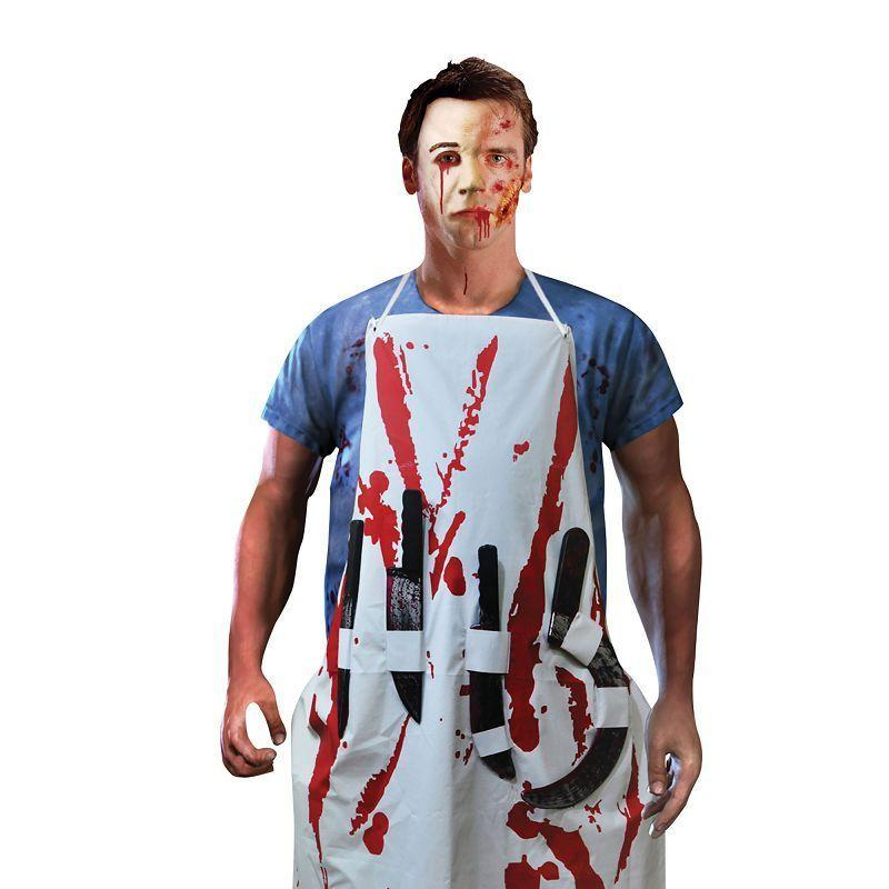 Mens Bleeding Apron With 4 Weapons (Costume Accessories) - Male - One Size Halloween Costume