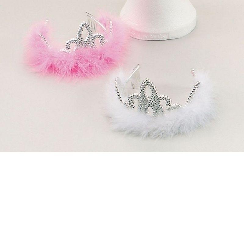 Womens Tiara. Silver Plastic / Marabou (Costume Accessories) - Female - One Size Halloween Costume