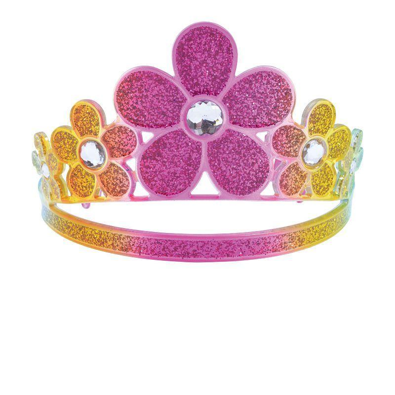 Womens Glitter Rainbow Flower Tiara (Costume Accessories) - Female - One Size Halloween Costume