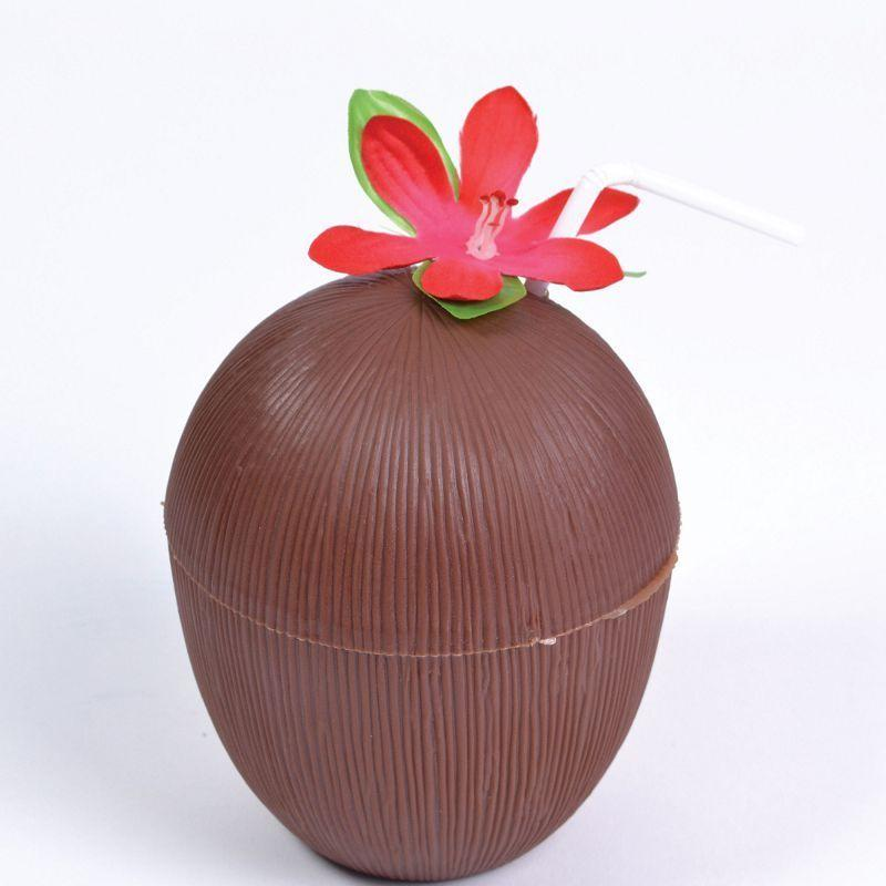 Coconut Cup. Flower + Straw. (Costume Accessories) - Unisex - One Size.