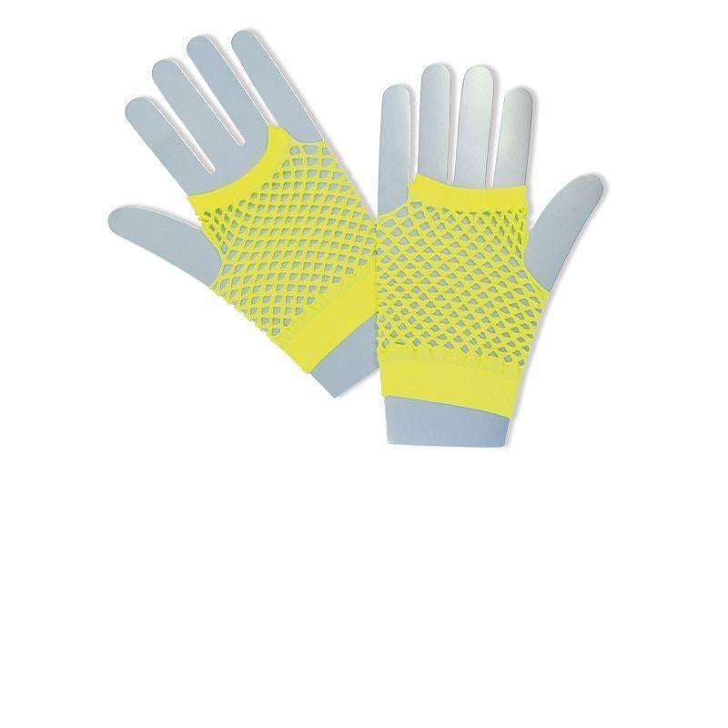 Womens Fishnet Gloves. Short Neon Yellow (Costume Accessories) - Female - One Size Halloween Costume