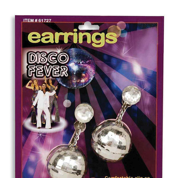 Womens Disco Ball Earrings (Costume Accessories) - Female - Pair Halloween Costume