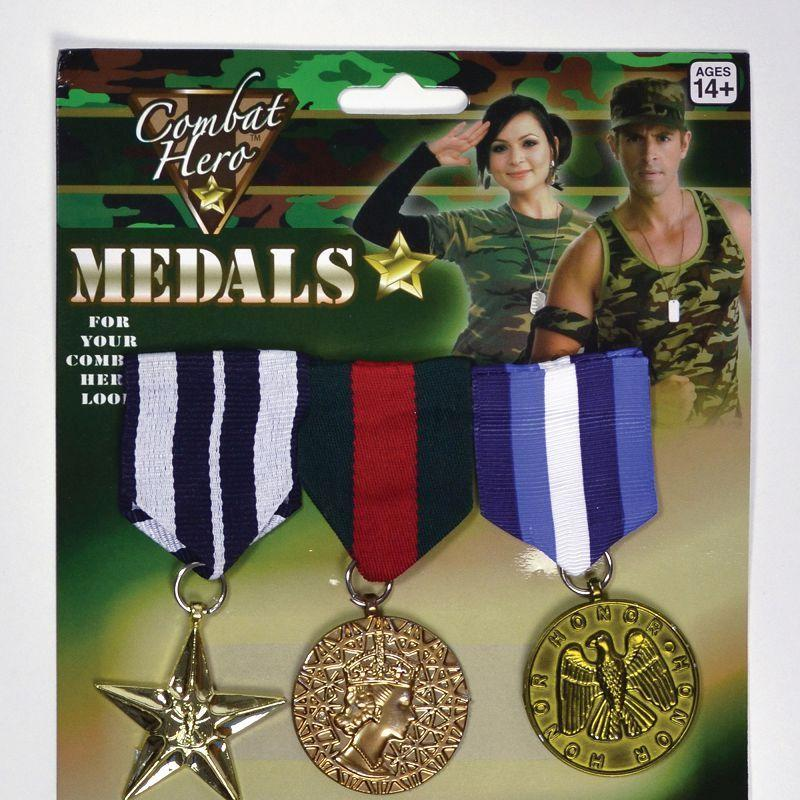 Military Medals (3 Pieces) (Costume Accessories) - Unisex - One Size
