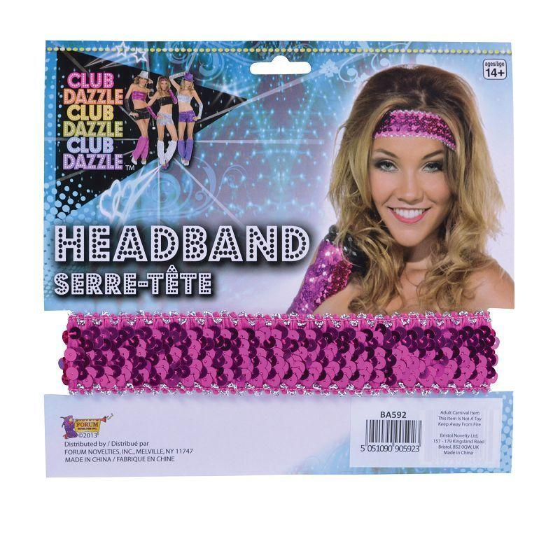 Womens Sequin Headband Pink (Costume Accessories) - Female - One Size Halloween Costume