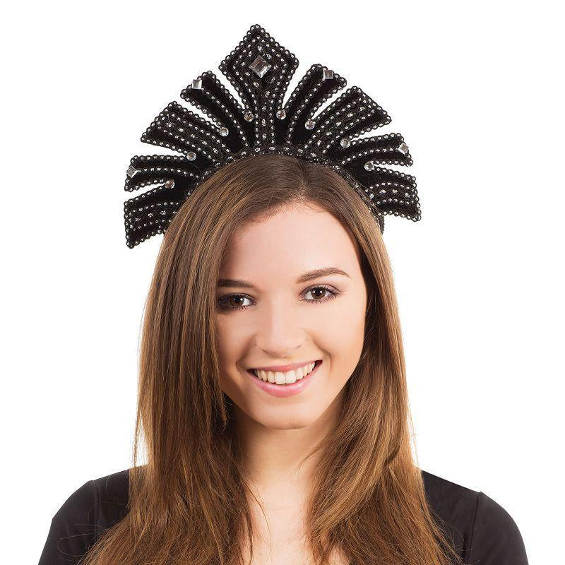 Womens Carnival Headdress. Black with Gems (Costume Accessories) - Female - One Size Halloween Costume