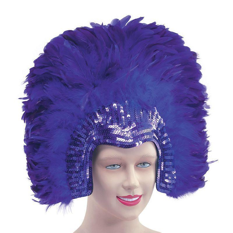 Womens Feather Headdress Purpledeluxe (Costume Accessories) - Female - One Size Halloween Costume