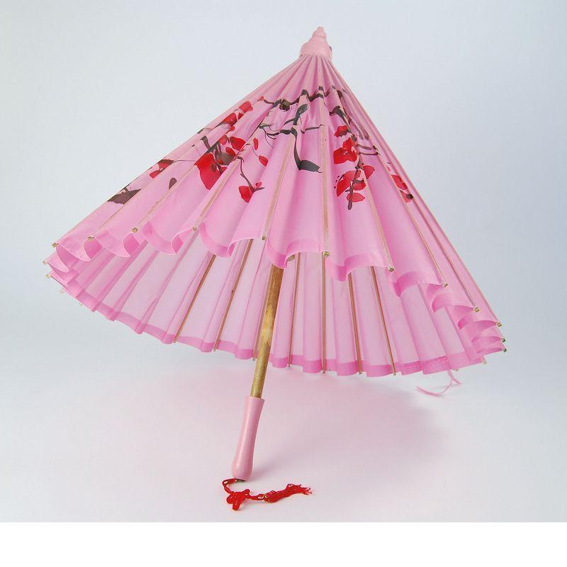 Womens Parasol. Pink Silk + Wooden Handle (Costume Accessories) - Female - One Size Halloween Costume