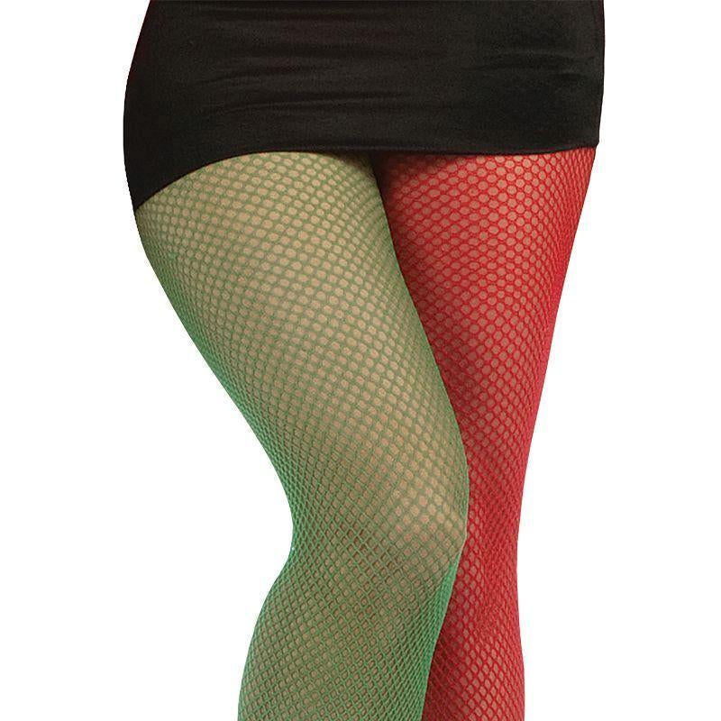 Womens Fishnet Tights. Green/Red. (Costume Accessories)- Female - One Size Halloween Costume