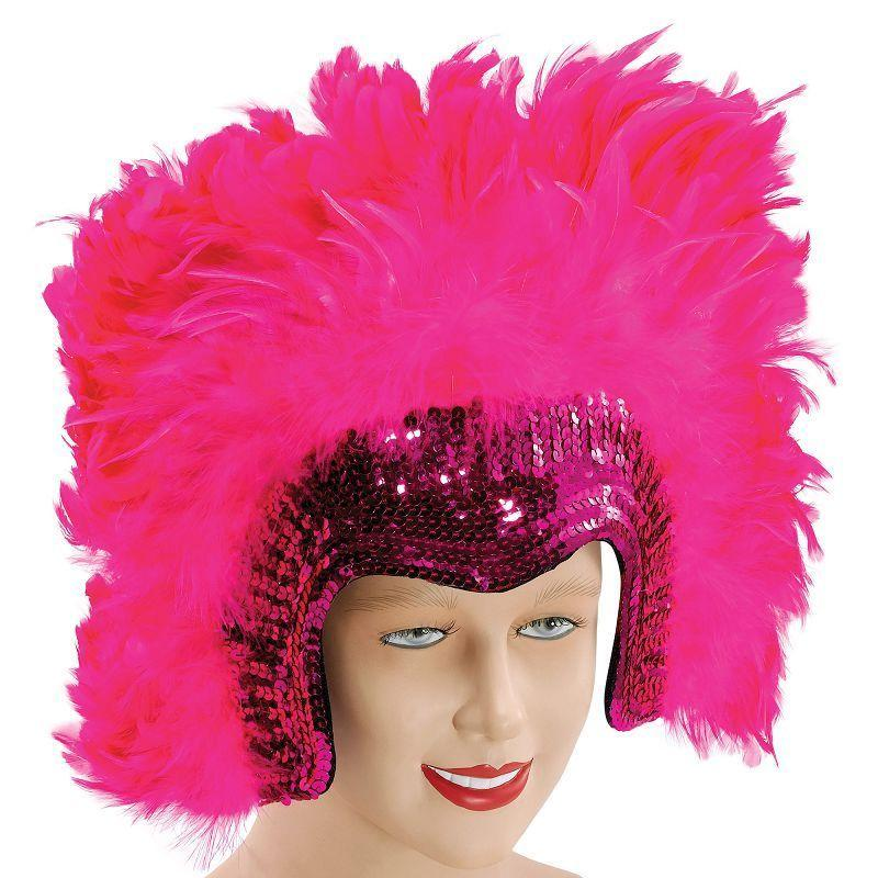 Womens Feather Headdress Pink Deluxe (Costume Accessories) - Female - One Size Halloween Costume