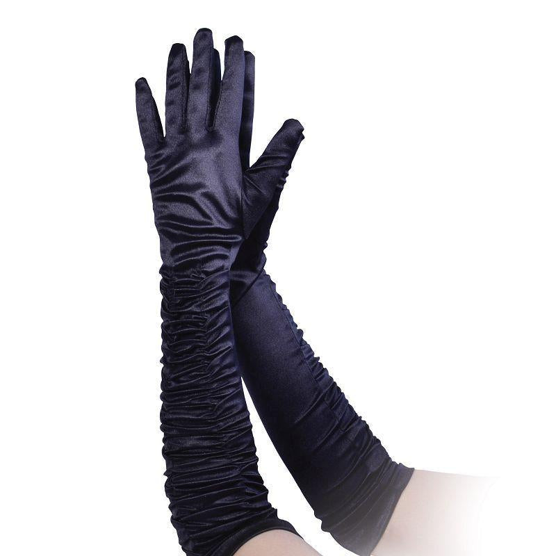 Womens Gloves. Black Satin Theatrical (Costume Accessories) - Female - One Size Halloween Costume