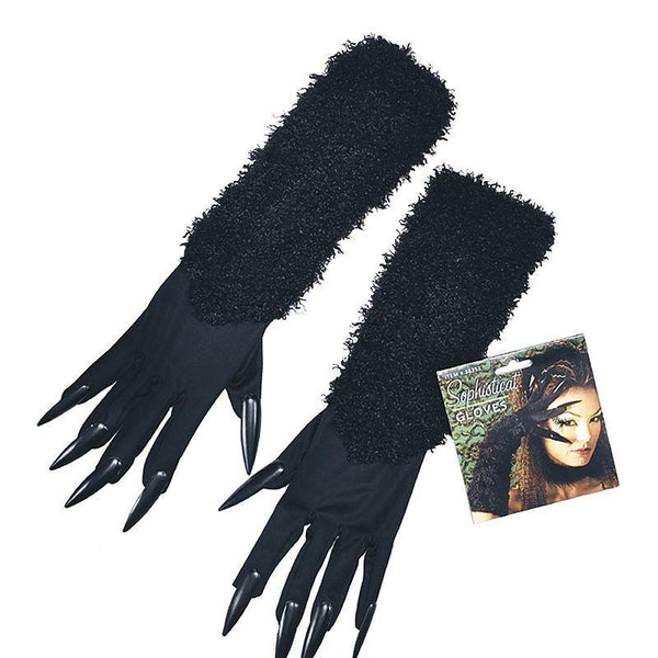 Womens Cat Gloves With Claws (Costume Accessories) - Female - One Size Halloween Costume