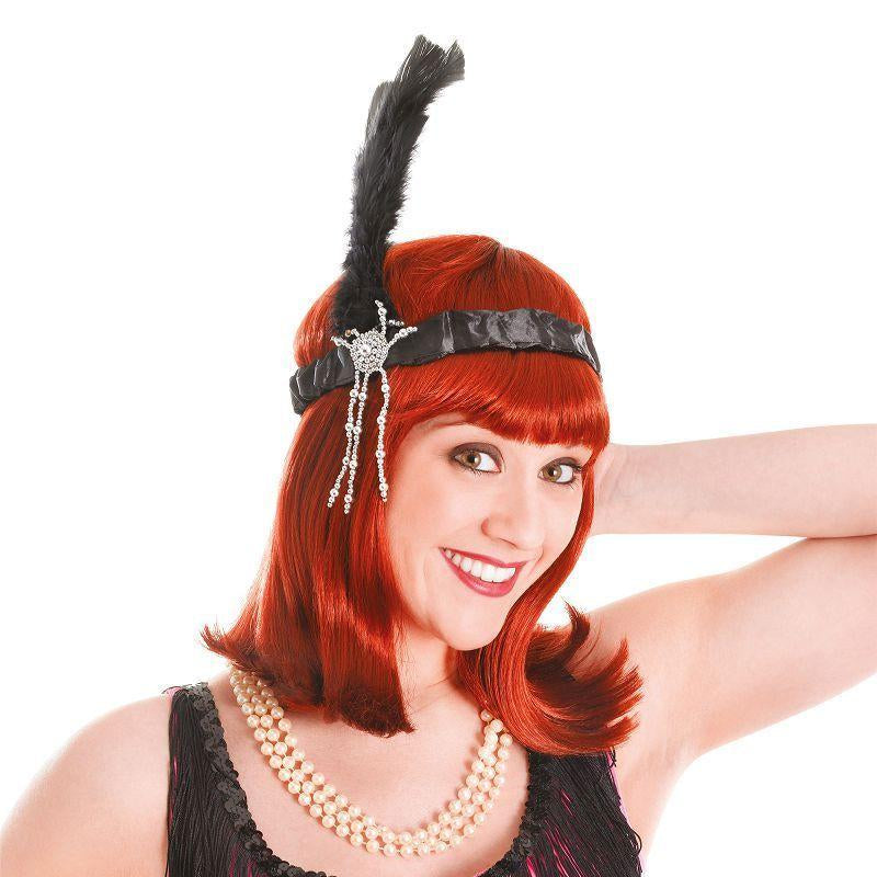 Womens Flapper Headband & Black Feathers (Costume Accessories) - Female - One Size Halloween Costume