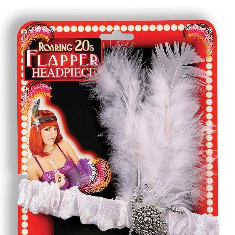 Womens Flapper Headband & White Feathers (Costume Accessories) - Female - One Size Halloween Costume