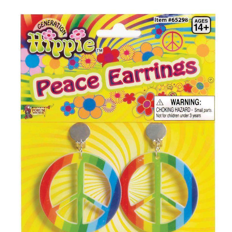Womens Rainbow Hippie Ear Rings. (Costume Accessories) - Female - One Size. Halloween Costume