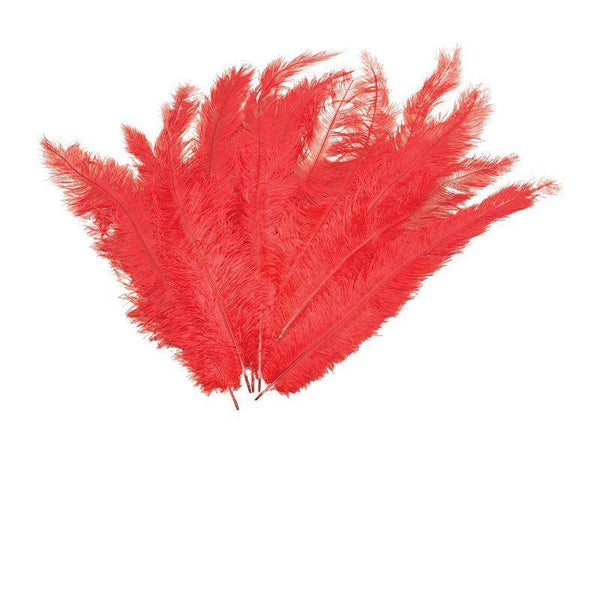 Womens Blondine Feather. Red 12/Pkt (Feathers) - Female - 12 Packet Halloween Costume