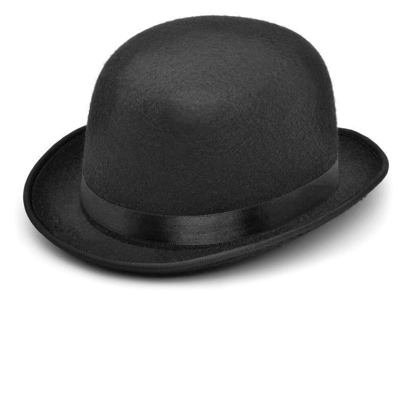 Mens Bowler - Black Helt Hat. Small (Hats) - Male - Small Halloween Costume