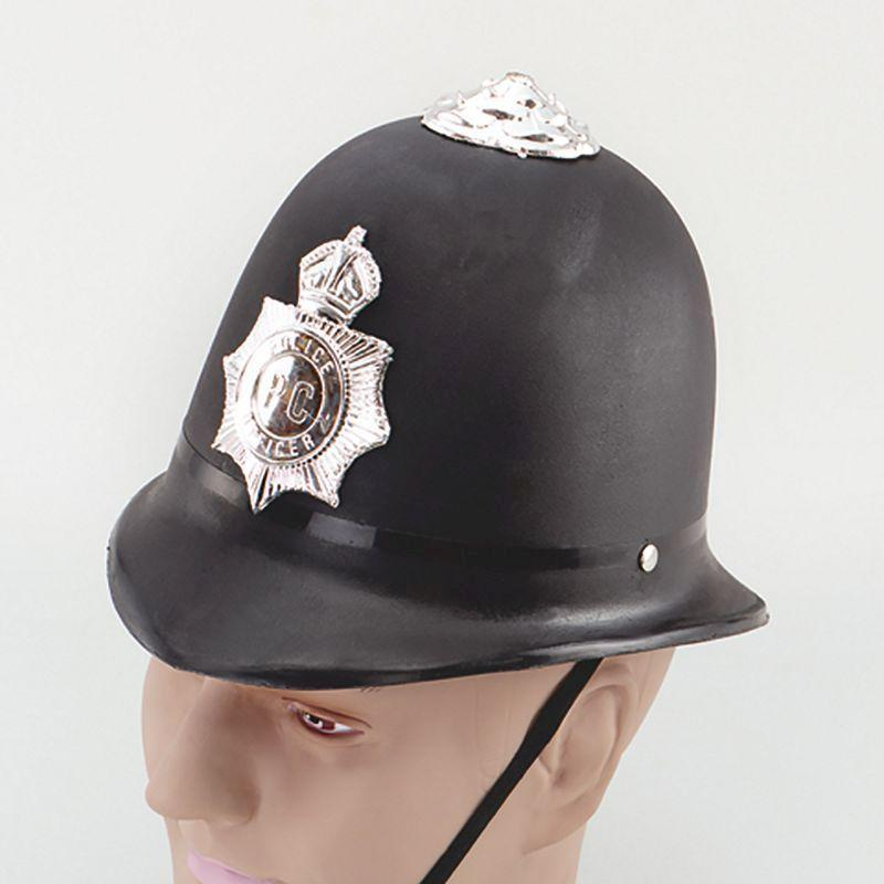 Mens Police Helmet. Hard Plastic (Hats) - Male - One Size Halloween Costume
