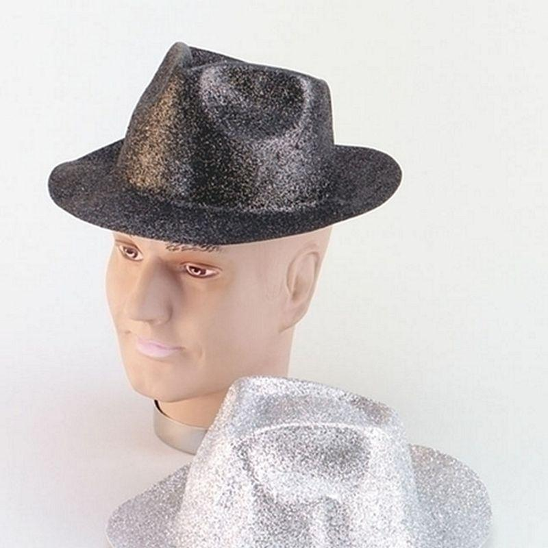 Mens Glitter Black Plastic Trilby (Hats) - Male - One Size Halloween Costume