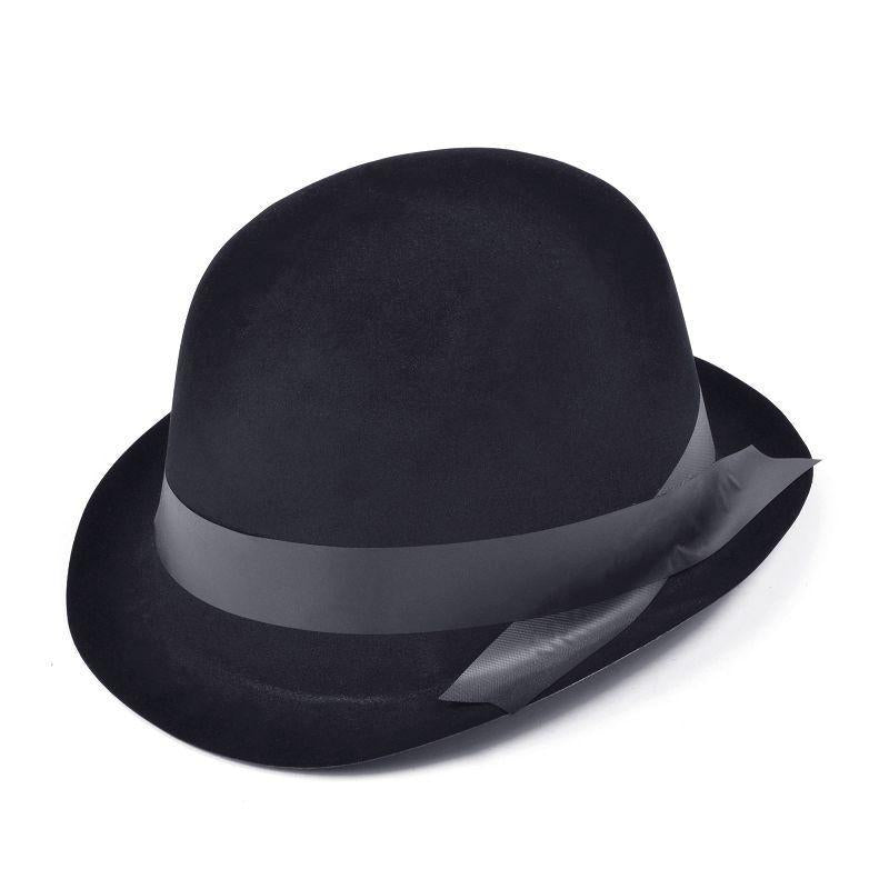 Mens Bowler. Black Flock (Hats) - Male - One Size Halloween Costume