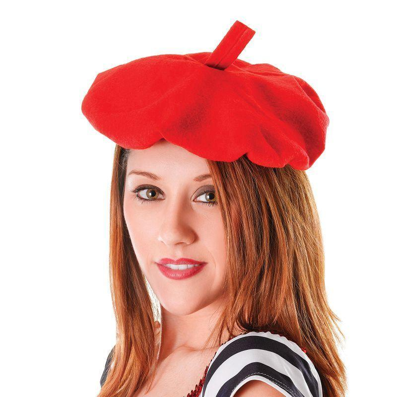 Mens French Beret. Red (Hats) - Male - One Size Halloween Costume
