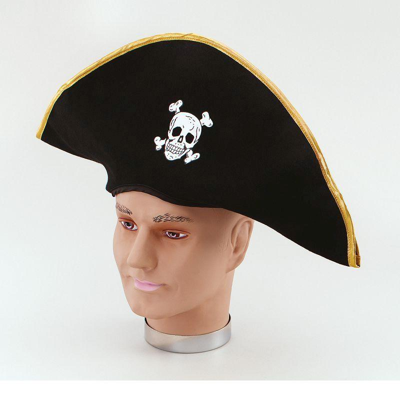 Mens Pirate Hat. Fabric/Gold Edging (Hats) - Male - One Size Halloween Costume