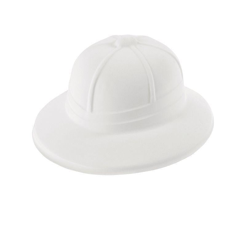 Mens Safari/Pith Helmet.white Flock (Hats) - Male - One Size Halloween Costume