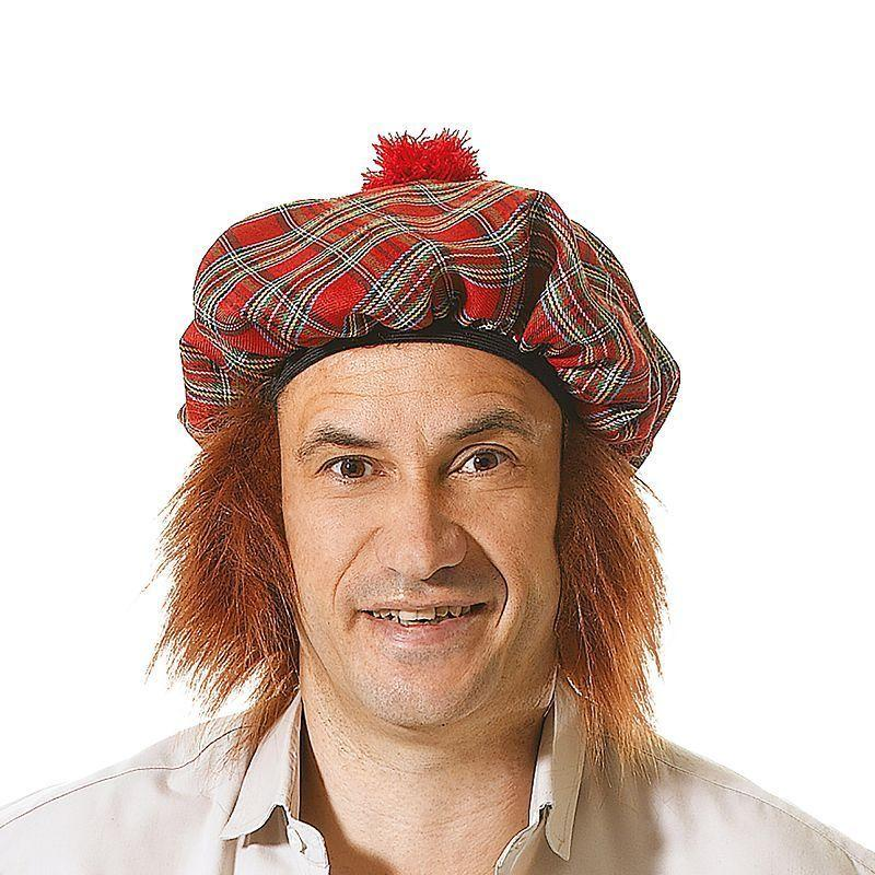 Mens Scots Tartan Hat/Ginger Hair (Hats) - Male - One Size Halloween Costume