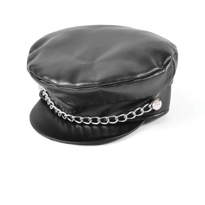 Mens Punk Leather Cap. Black (Hats) - Male - One Size Halloween Costume