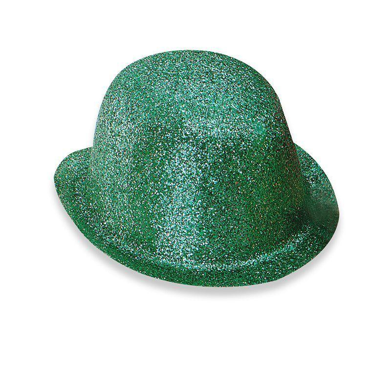 Glitter Green Plastic Bowler (Hats) - Unisex - One Size