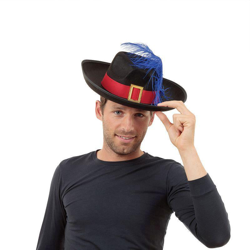 Mens Musketeer. Black/Feather (Hats) - Male - One Size Halloween Costume
