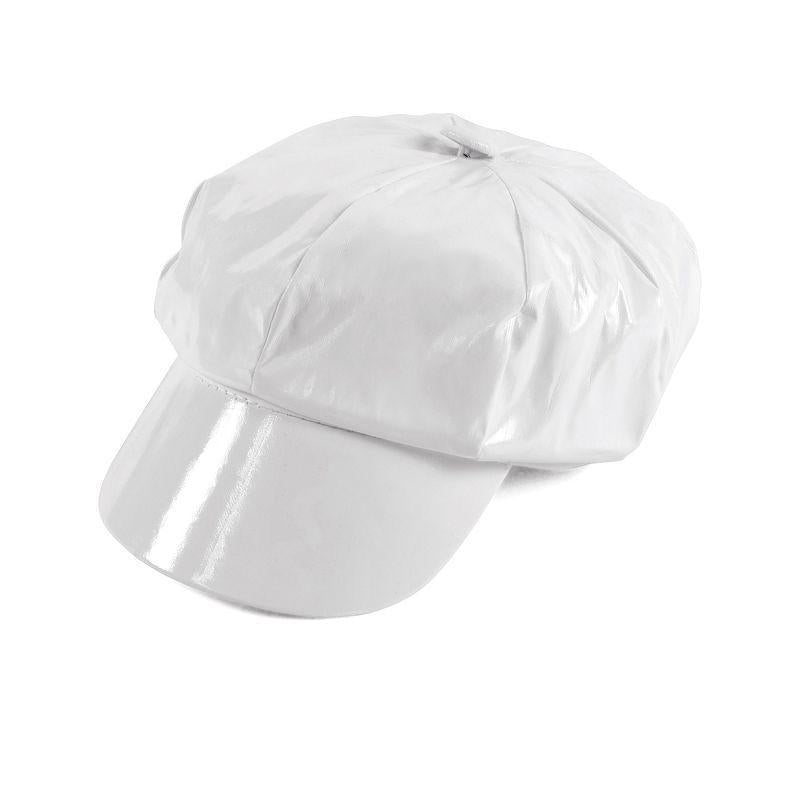 Womens Shiny White Pvc Hat (Hats) - Female - One Size Halloween Costume