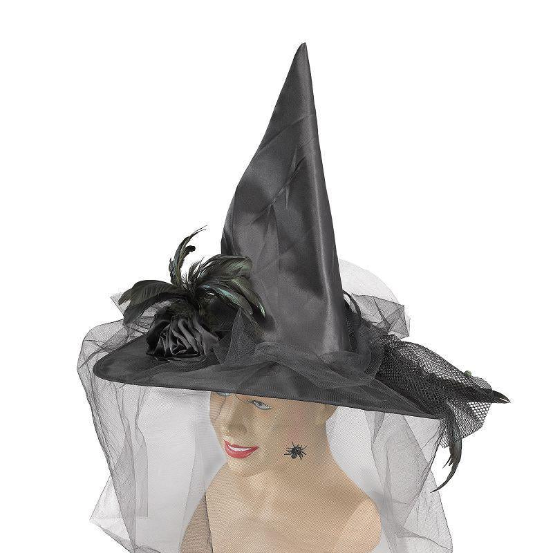 Womens Witch Hat, Fancy. Black (Hats) - Female - One Size Halloween Costume