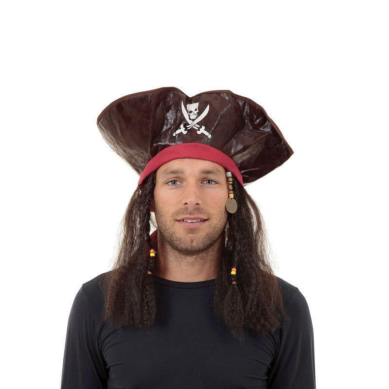 Mens Pirate Caribbean Hat + Hair (Hats) - Male - One Size Halloween Costume