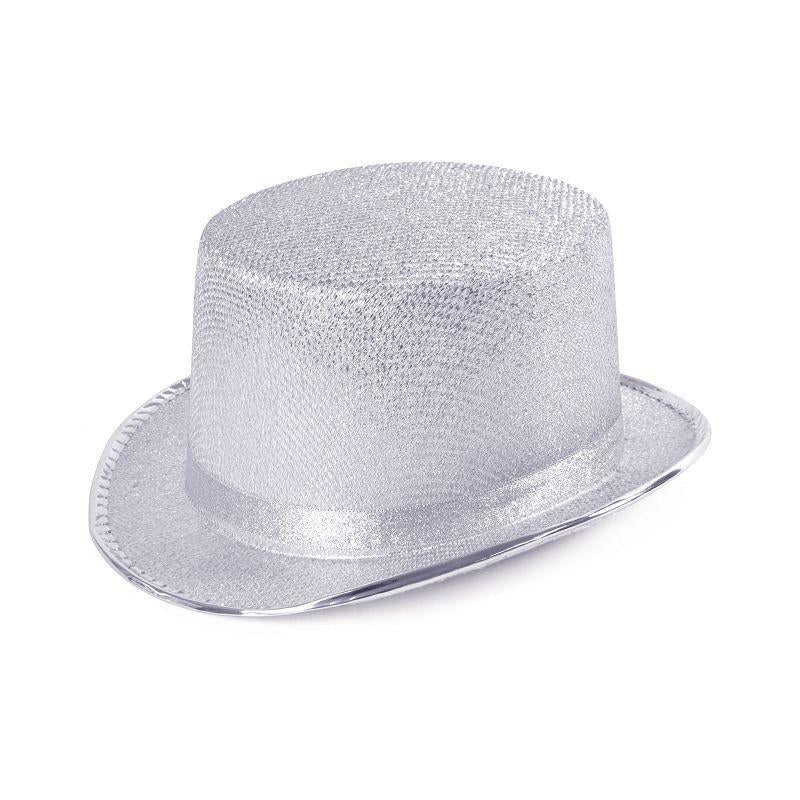 Top Hat. Silver Lurex (Hats) - Unisex - One Size