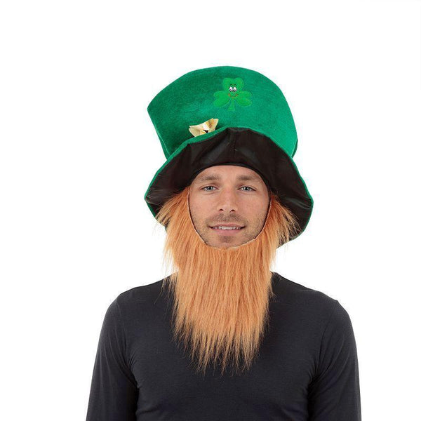 Mens Irish Hat + Beard (Hats) - Male - One Size Halloween Costume