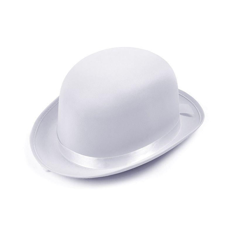 Bowler Hat. White, Satin Look (Hats) - Unisex - One Size