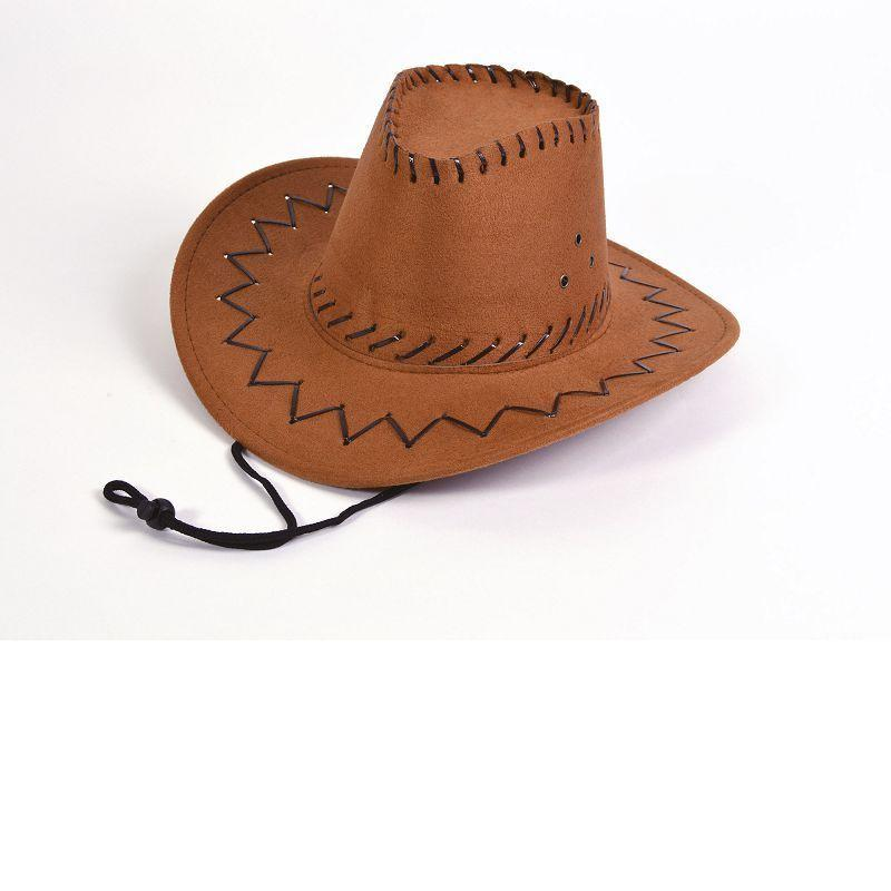 Cowboy Hat.leather Stitch, Black, Childs (Hats) - Unisex - One Size