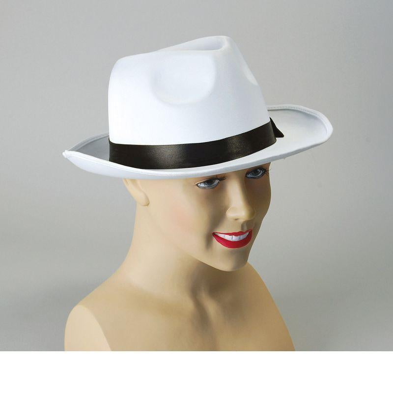 Gangster Hat. White Satin Finish (Hats) - Unisex - One Size