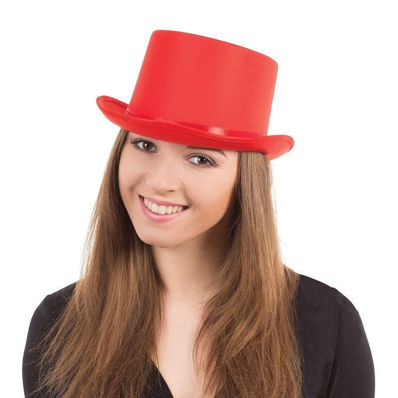 Top Hat. Red Satin (Hats) - Unisex - One Size