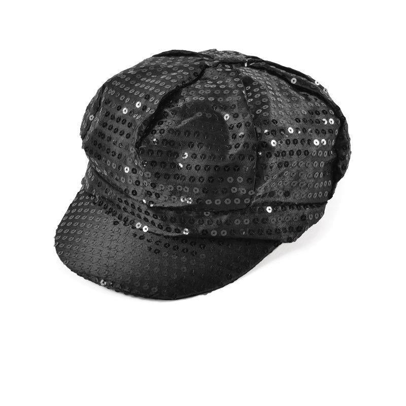 Womens Sequin Cap. 80s Style Black. (Hats) - Female - One Size Halloween Costume