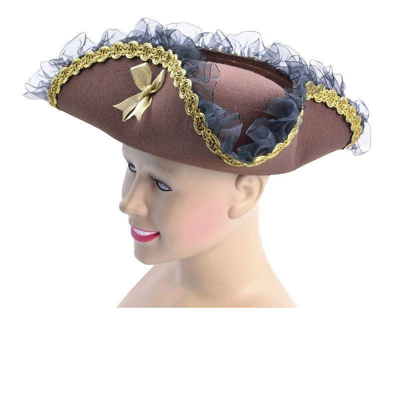 Womens Tricorn Hat. Brown (Pirate Lady). (Hats) - Female - One Size Halloween Costume