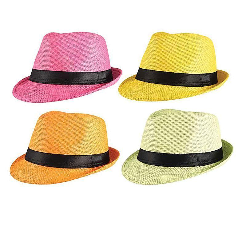 Mens Gangster Straw Hat (Assorted Colours) (Costume Accesories) - Male - One Size Halloween Costume