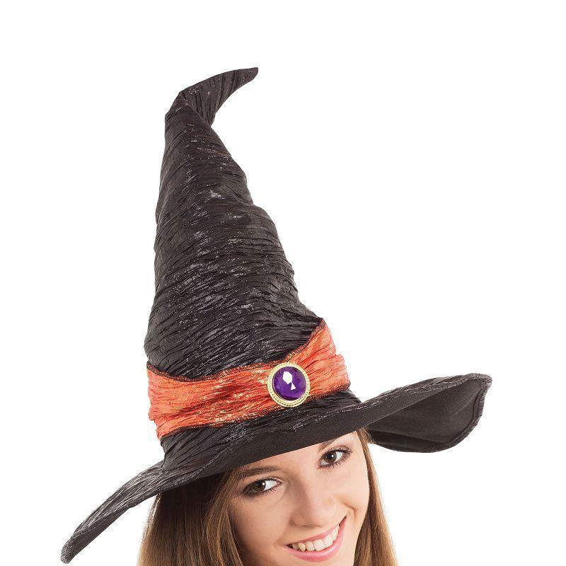 Womens Witch Hat. Black with Orange Band( Hats) - Female - One Size Halloween Costume