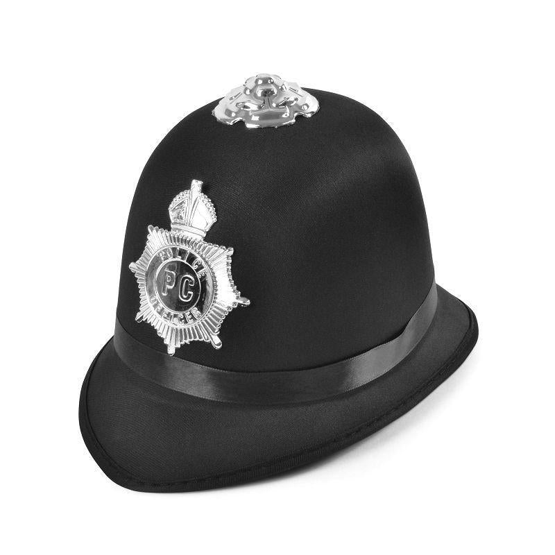 Police Bobby Hat Satin Fabric (Hats) - Male - One Size