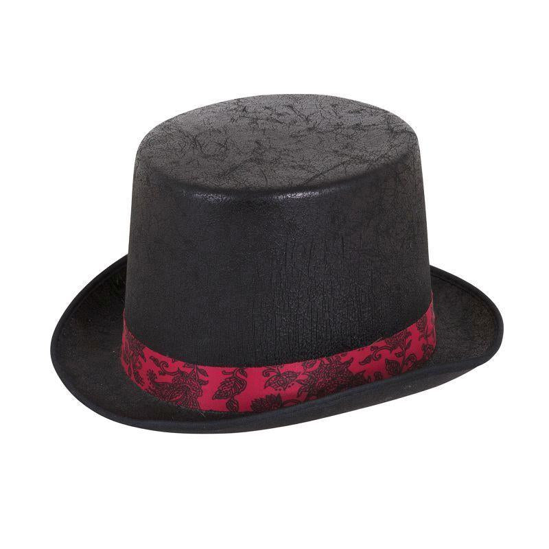 "Top Hat ""Aged"" Look Black W/Red Band (Hats) - One size fits most"