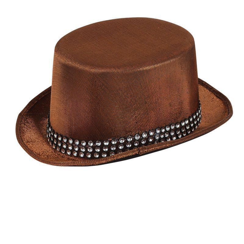 "Top Hat Brown ""Metallic"" Look W/Band (Hats) - One size fits most"
