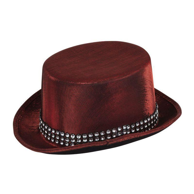 "Top Hat Red ""Metallic"" Look W/Band (Hats) - One size fits most"