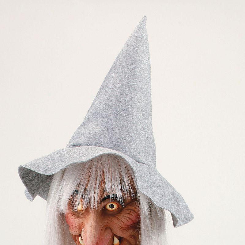 Womens Witch Mask.grey Hat & Hair (Rubber Masks) - Female - One Size Halloween Costume