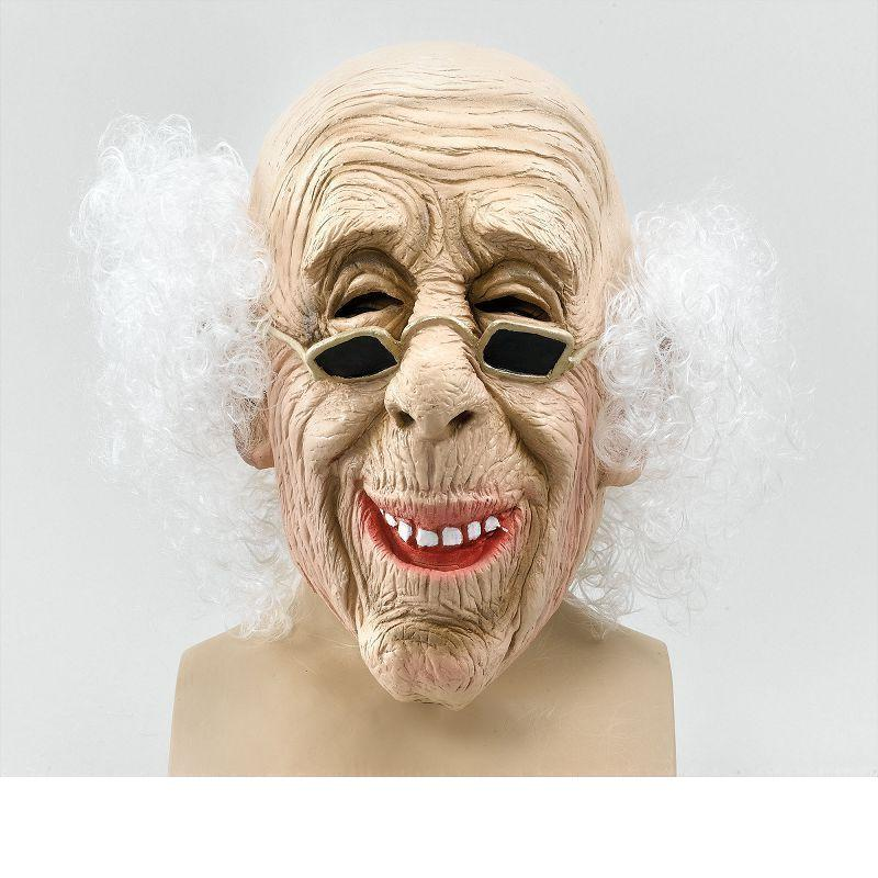Mens Old Man Mask & Hair (Budget) (Rubber Masks) - Male - One Size Halloween Costume